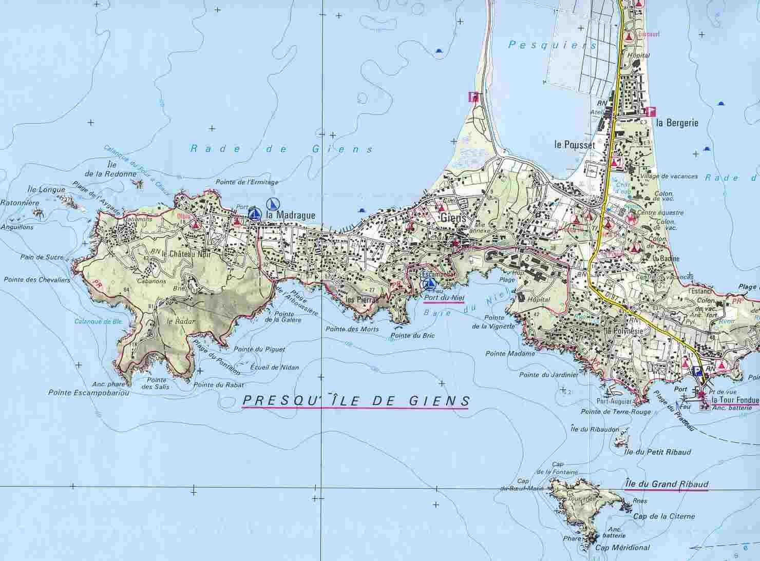 carte presqu île de giens Cartes du site
