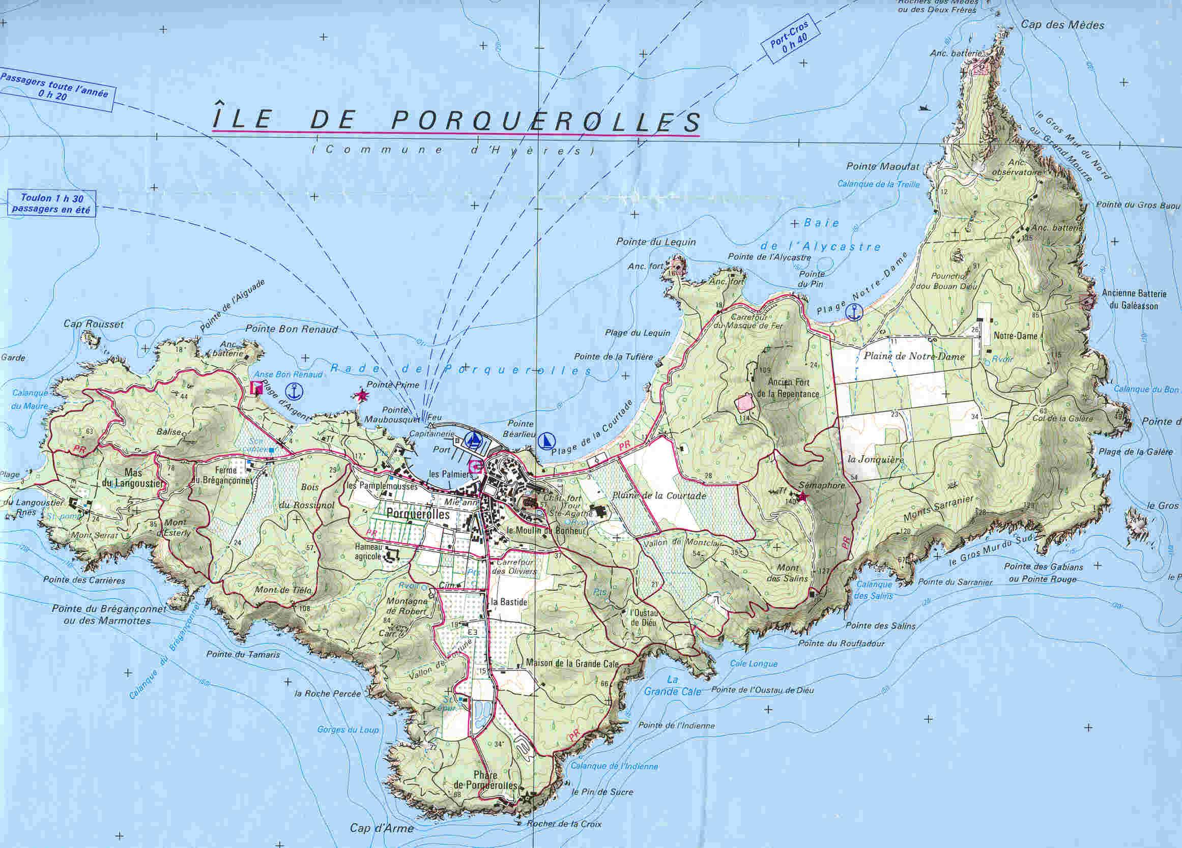 Porquerolles carte voyages cartes - Office du tourisme presqu ile de giens ...